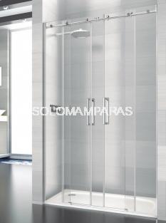 Mampara de ducha Saina -Deyban- 2 fijas + 2 correderas (acero inoxidable) con antical