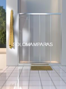 Mampara de ducha Sella (2 fijas + 2 correderas) en vidrio templado y acrílico