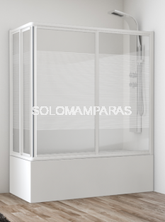 Mampara angular de bañera Siam (2 fijas + 2 correderas) vidrio 4 mm