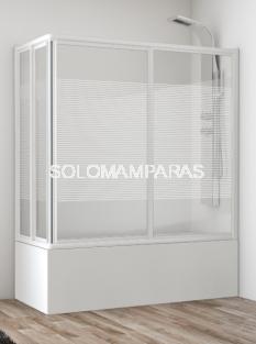 Mampara angular de bañera Siam (2 fijas + 2 correderas) en vidrio templado y acrílico