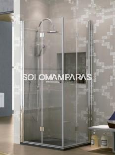 Mampara de ducha angular plegable Lena -Hidroglass- (4 hojas plegables) 6 mm