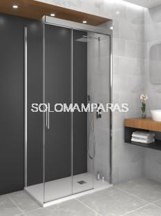 Mampara de ducha Trio -GME- (1 fija + 2 correderas + 1 lateral fijo)