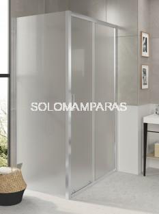 Mampara de ducha F3 de fijo + corredera con lateral fijo, vidrio carglass de 6mm y antical