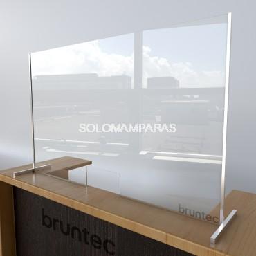 Pantalla de vidrio protectora 5mm con ventana y soportes Aluminio Protek 1000