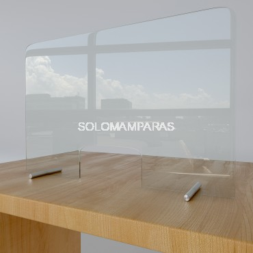 Pantalla de cristal 6mm protectora coronavirus con ventana Protek 500 (Altura 80cm)
