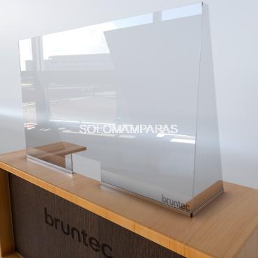 Mampara de vidrio 5mm protectora Con ventana y Laterales en Cuña Protek 950
