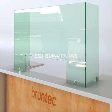 Pantalla de cristal 6mm  para comercios y establecimientos con Ventana y Laterales Protek 300 (Altura 80cm)
