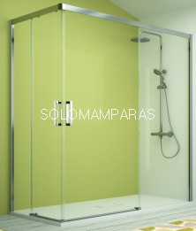Mampara angular serie 400 -Kassandra- CU607, apertura al vértice transparente EASY CLEAN