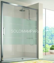 Mampara de ducha -Kassandra- 400 (CU607+CU602) (1 fija + 1 corredera) Serigrafía Clio (Antical Easy Clean)