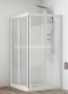 Angular ducha mampara Madeira, 2 fijas + 2 correderas. Acrílico