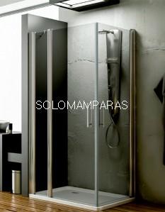 Angular de ducha Zama -Hidroglass- (1 fijo continuo + 2 puertas abatibles) 6 mm