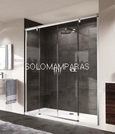 Frontal ducha mampara Aura Elegance, 2 fijas + 2 correderas, ¡TRATAMIENTO ANTICAL GRATIS! -Huppe-
