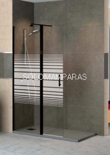 Mampara de ducha Milán -Torvisco- (1fijo + abatible) con perfil negro y sin cierre