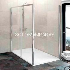 Mampara de ducha angular Free (1 fija y 1 corredera) + lateral fijo