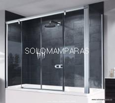 Frontal bañera mampara Aura Elegance, 2 fijas + 2 correderas, ¡TRATAMIENTO ANTICAL GRATIS! -Huppe-