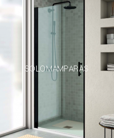 Mampara de ducha Milán de perfil negro -Torvisco- (1 puerta abatible sin cierre o abatible con lateral fijo)