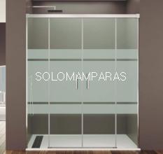 Mampara de ducha Basic Spazio -GME- (2 fijas + 2 correderas) antical y serigrafía front plus