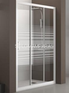 Mampara de ducha Nantes (Blanco/Rayas), 1 fija + 2 correderas