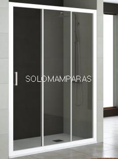 Mampara de ducha Nantes (Blanco/Transparente), 1 fija + 2 correderas
