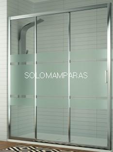 Frontal ducha mampara Diana, 1 fija + 2 correderas (DI101) Cromo/Decorado Bali -Kassandra-
