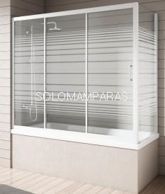 Mampara bañera NANTES, Blanco/Rayas,(1 fija + 2 correderas y Lateral Fijo)