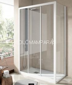 Mampara Ducha Nantes, Perfil Blanco, (1Fija, 2 correderas + Lateral Fijo) Transparente