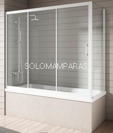 Mampara Bañera Nantes, Blanco/Transparente, (1 fija + 2 correderas + Lateral Fijo)