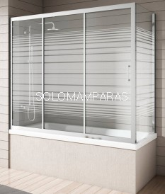Mampara bañera - NANTES - Cromo Rayas,(1 fija + 2 correderas y Lateral Fijo)