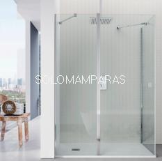 Mampara ducha Clean; frontal 1 fija + 1 puerta abatible con lateral fijo
