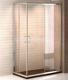 Mampara de ducha angular Niza (2 fijas + 2 correderas) transparente