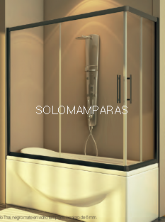 Mampara angular de bañera Thai (2 fijas + 2 correderas) 6 mm con perfileria negra