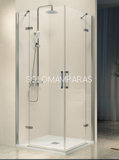 Mampara de ducha Kassandra Nardi angular (NA405) Transparente (Antical Easy Clean) (2 fijas + 2 abatibles)