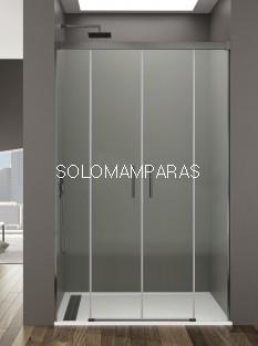 Mampara de ducha Basic Spazio TITANIO -GME- (2 fijas + 2 correderas) antical y transparente