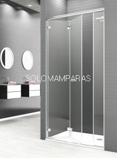 Mampara de ducha plegable Reus -Deyban- 2 puertas plegables + 1 fijo en linea (antical)