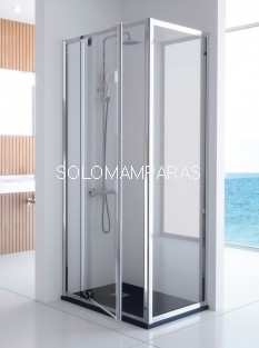 mampara ducha pivotante -Kassandra- Serie 300 (TR503+TR513) 1 fija + 1 abatible + lateral fijo (antical Easy Clean)