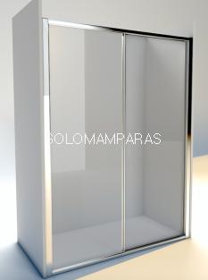 Mampara de ducha Gales  (1 fija + 1 corredera) Perfil plata / vidrio transparente
