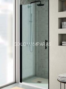 Mampara de ducha Milán de perfil negro -Torvisco- (1 puerta abatible sin cierre o abatible con lateral fijo) antical incluido