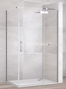 Mampara de ducha Selecta articulada -Deyban- (fijo + puerta abatible) + lateral fijo 8 mm (antical)