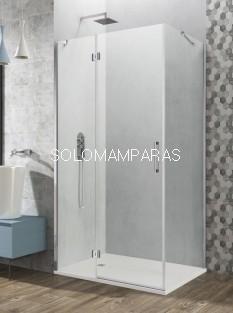 Mampara de ducha Glass -GME- 1 fijo + 1 puerta abatible + lateral fijo
