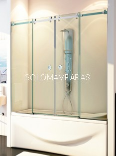 Mampara frontal de bañera Marne -Hidroglass- (2 fijas + 2 correderas) 8 mm