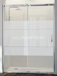 Mampara Triana -Kassandra- (TN102), 1 fija+ 1 corredera serigrafía Clio, con tratamiento antical Easy Clean