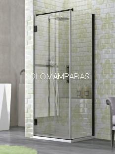 Mampara de ducha Naray 1 puerta abatible + 1 lateral fijo) 6 mm con perfileria negra