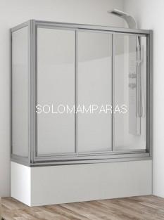 Mampara frontal de bañera Bali (3 correderas + lateral fijo) vidrio templado y acrílico