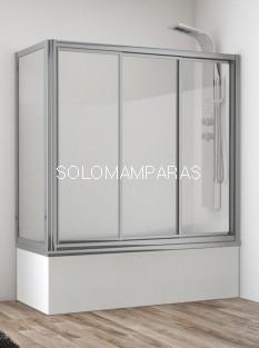 Mampara bañera Indonesia (3 correderas + lateral fijo) vidrio templado y acrílico