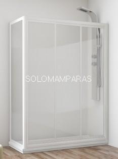 Mampara de ducha Caribe de 3 correderas + lateral fijo, en vidrio templado y acrílico