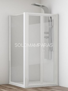 Mampara de ducha plegable Yaguas + lateral fijo, en vidrio templado y acrílico