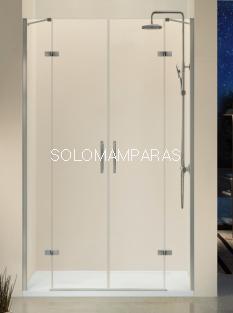 Mampara de ducha -Kassandra- Nardi (NA415) (2 fijos + 2 abatibles) con bisagras, transparente (Antical Easy Clean)
