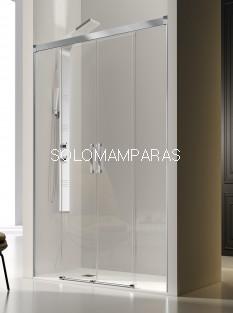 Mampara de ducha frontal -Kassandra- Glase (GS100) (2 fijas + 2 correderas) con perfileria plata alto brillo (antical Easy Clean)