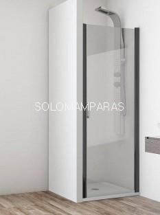 Mampara frontal de ducha Cancún 1 hoja abatible, 6 mm con perfileria negra