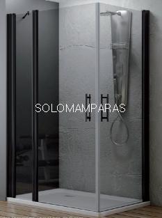 Angular de ducha Zama (1 fijo continuo + 2 puertas abatibles) 6 mm con perfileria negra